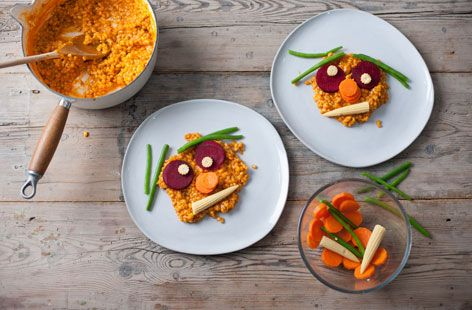 Andrew MacKenzie uses this dish to get his kids to try different vegetables. He plays a game where the little ones close their eyes, eat a part of the face and guess which bit they've eaten – an ingenious way to help kids forget their fear of veg! Visit Tesco Real Food for this recipe and much more today.