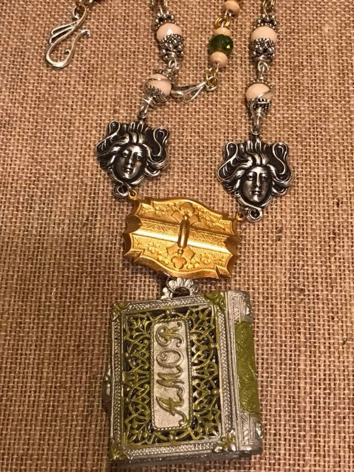 Nov/Dec 2017 Challenge Bsue1928 Pewter locket with brass connector peach Jade, Avocado crystals, beadcaps and clasp