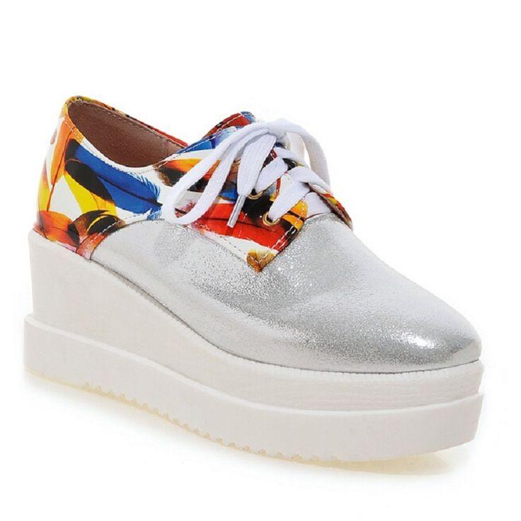 2017 новых осенью цветочные Смешанные цвета клинья платформы обувь повседневная обувь шнуровкой женские ультра высокие каблуки женской обуви большого размера 43