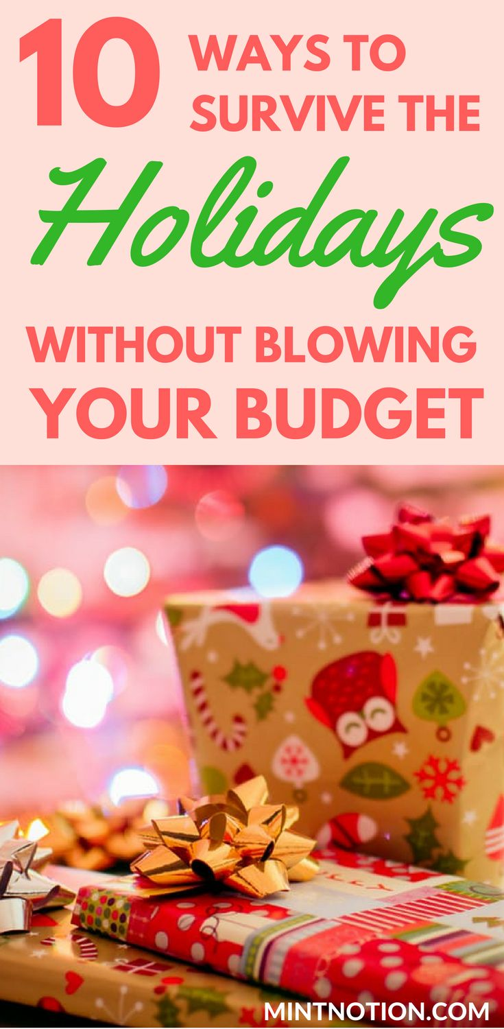 How to survive the holidays without blowing your budget. Use these 10 helpful tips to enjoy a fun and frugal Christmas without going into debt. (budget)