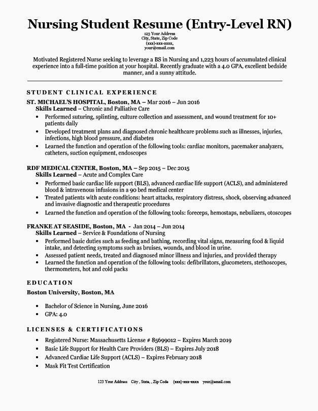 Professional Resume Example Instant Download 1 Page Resume Example For Ms Word Diy Resume Exam Student Resume Nursing Resume Examples Student Resume Template