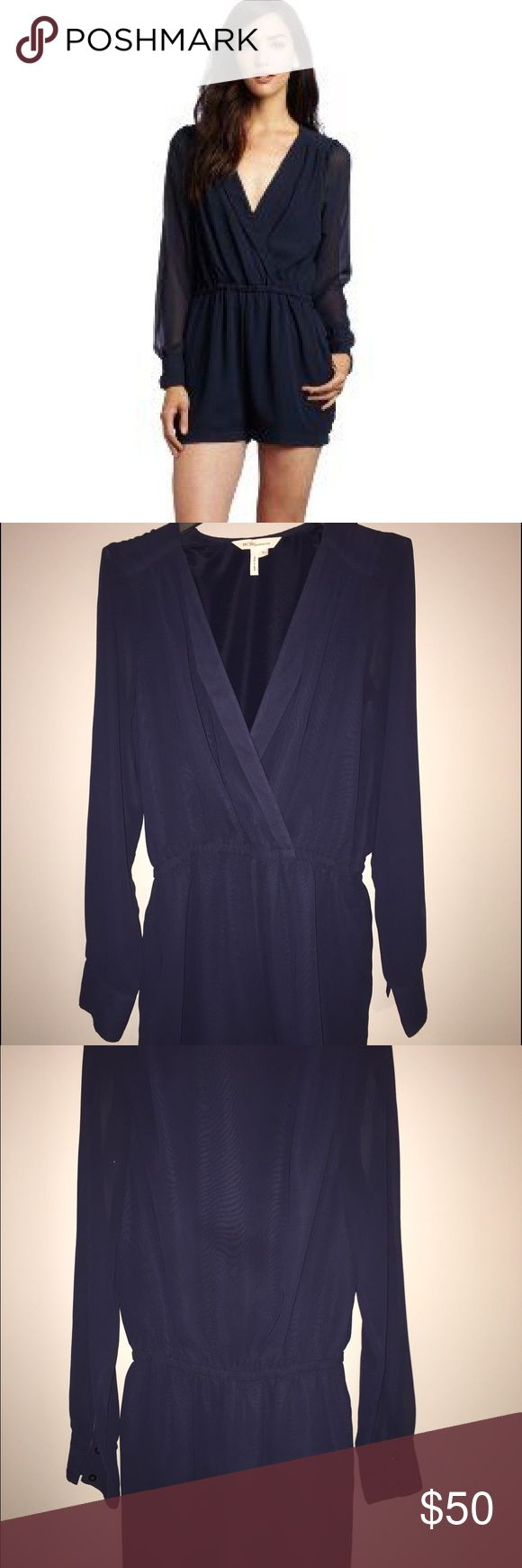 BCBGeneration Dark Navy Long Sleeve Romper Description     * Condition: NWOT Never worn     * Brand: BCBGeneration     * Style Number: VDW9C085     * Size: US M     * Color: Dark Navy     * Silhouette: Blouson Romper     * Sleeve Length: Long Sleeves     * Dress Length: Above the knee     * Total Length: 33 inches     * Bust: 37 inches     * Waist:  Elastic     * Hips: 39 inches     * Inseam: 2 inches (hits mid-thigh)     * Material: 100% Polyester     * Fabric Type: Semi-Sheer Chiffon…