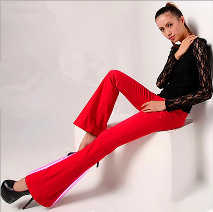 fall outfits new Europe America style fashion sexy tight candy color flared jeans trousers pant for women