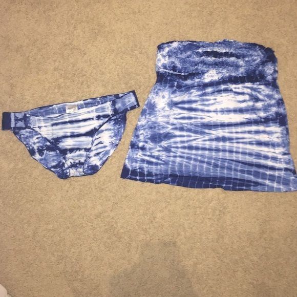 Blue and white Tankini set Never worn, adorable tie-dye, and just a great look! Lucky Brand Other