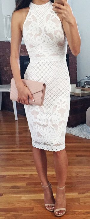 White lace midi dress. women fashion outfit clothing style apparel @roressclothes closet ideas