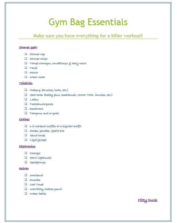 Gym Bag Essentials Checklist
