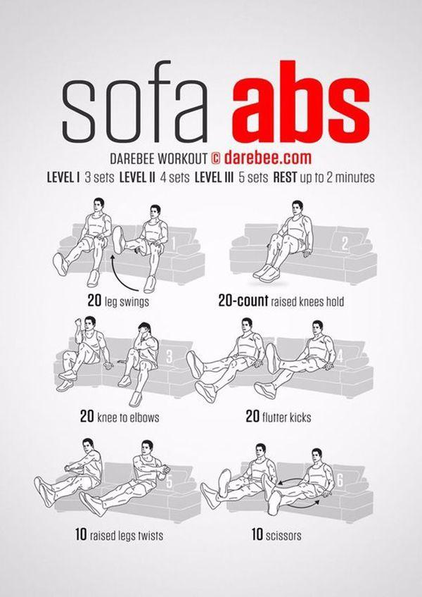 Rutina para fortalecer las abdominales sin moverse del sofá de casa. #abdominales #deporte #infografia