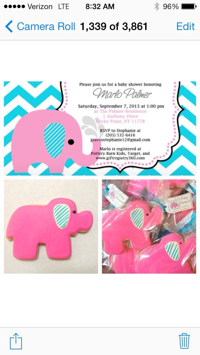 Custom cookie elephants to look like invite :)