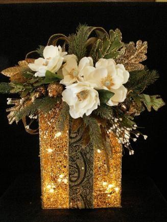 ❄☃ Seasons ❄☃❄ Winter Wonderland ☃❄ illuminated gold christmas present