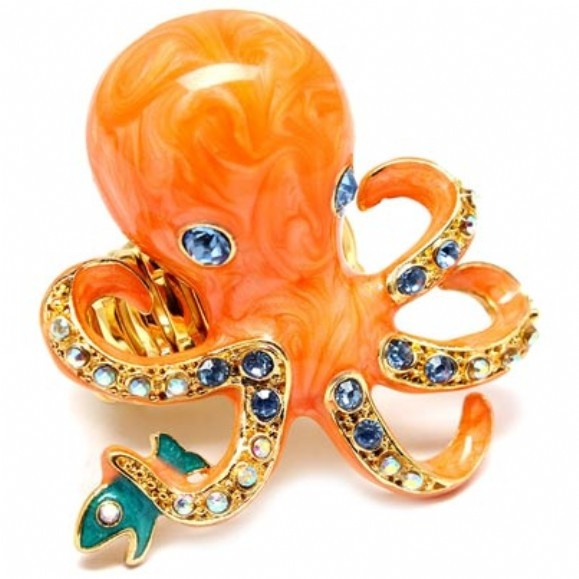 Orange Octopus & Fish Cocktail Ring: Cocktails Rings, Sweet, Jewels Octopuses, Octo Rings, Risa Orange, Octopuses Rings, Octopus Ring, Fish Cocktails, Orange Octopuses