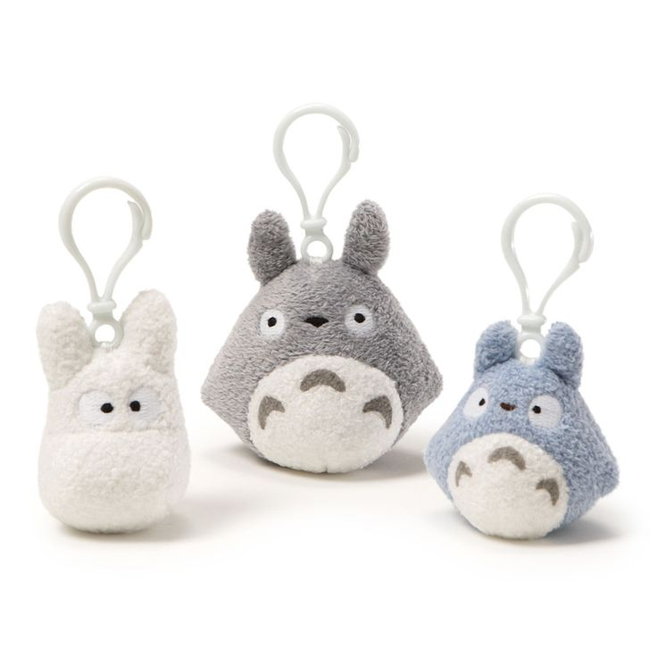 My Neighbor Totoro Backpack Clip Set (1 Each) - Grey, Blue And White Totoro