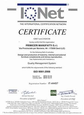 Primiceri Manufatti - Certificazione IQ-NET