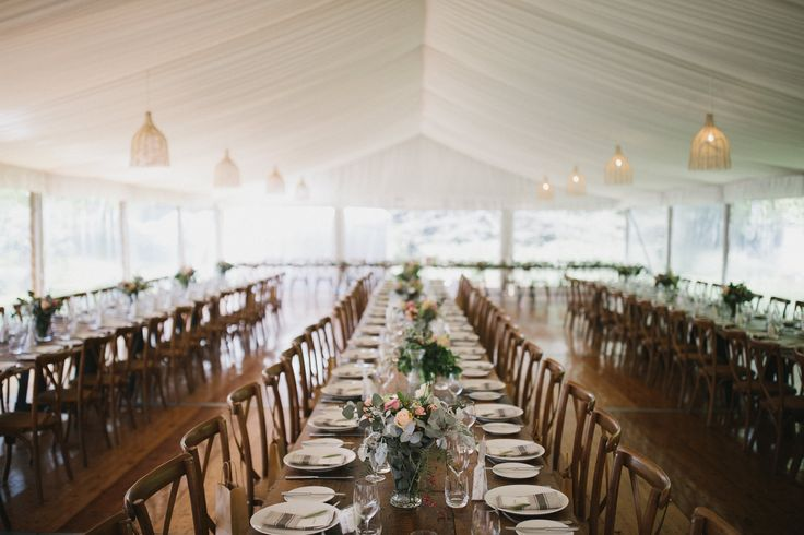vintage timber trestle tables, timber cross back chairs, 10m marquee structure, silk lining, rattan lampshade, south coast weddings, south coast party hire