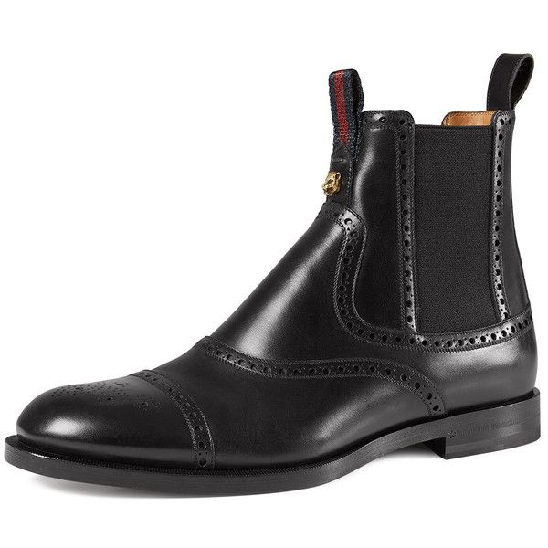Gucci Leather Brogue Chelsea Boot (955 CHF) ❤ liked on Polyvore featuring men's fashion, men's shoes, men's boots, black, gucci mens boots, mens black ankle boots, mens brogue boots, gucci mens shoes and mens black leather boots