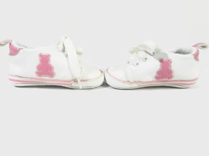 6d7324a7b7168 Gap Baby Girls Shoe Crib Size 3-6 Months White Leather Sneaker Pink ...