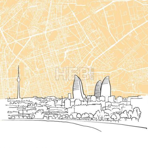 Baku Azerbaijan Background Map