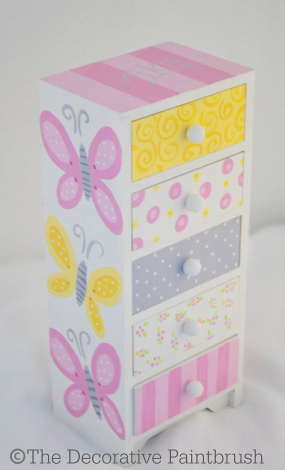 Painted Jewelry Box Personalized Gift Flower by TheDecorativeBrush
