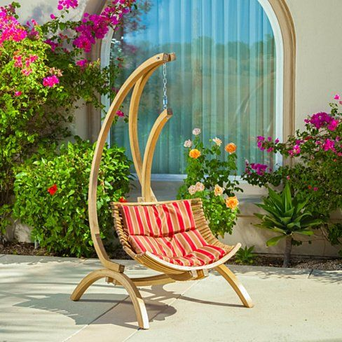 Hendrick Wooden Hanging Chair Swing w/ Brown and Red Cushion