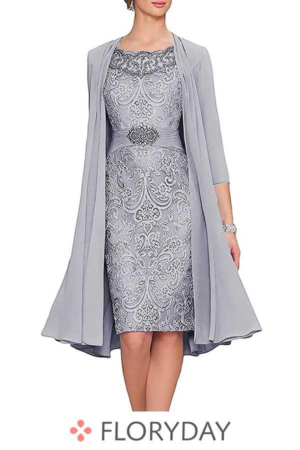 Knielanges Kleid Mit Flugelarmel Damenmode Kleider Knielange Kleider Kleider Damen