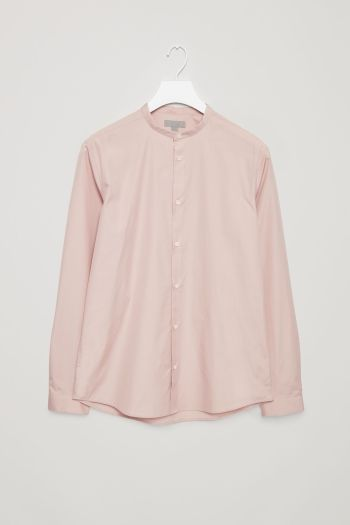 COS image 2 of Narrow grandad collar shirt in Dusty Pink