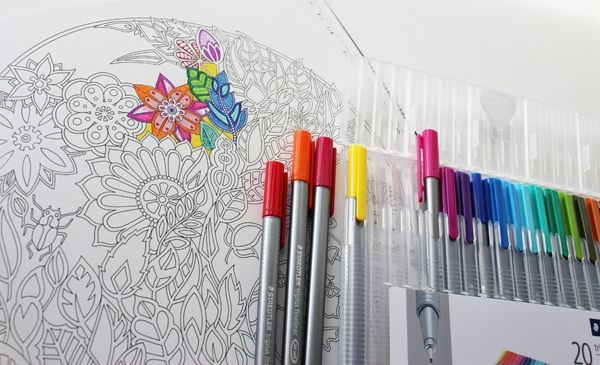 Enchanted Forest with Pens - Staedtler triplus fineliners. I love these - The colours are bright and zippy whilst the fine nibs mean they are just perfect for little details and embelishments.
