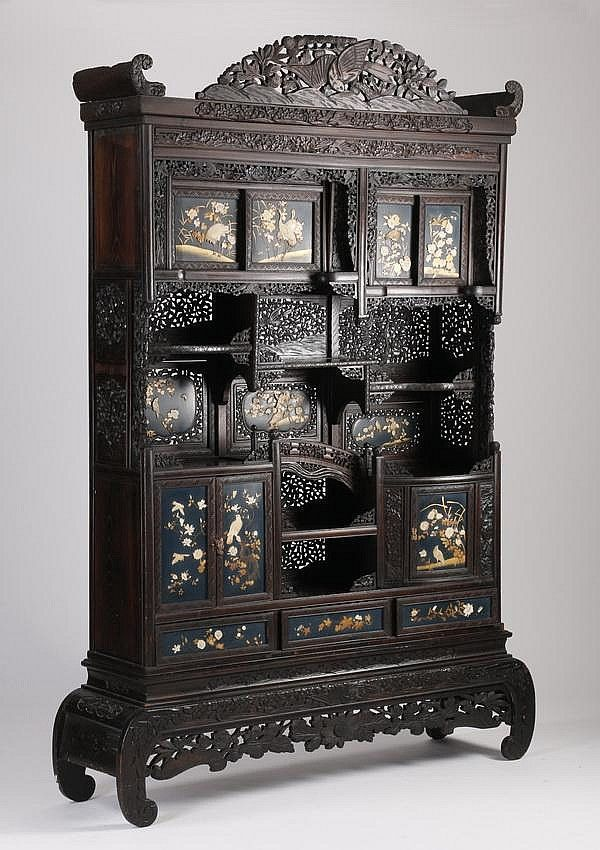 19th C Chinese Inlaid Curio Cabinet By Great Gatsbys