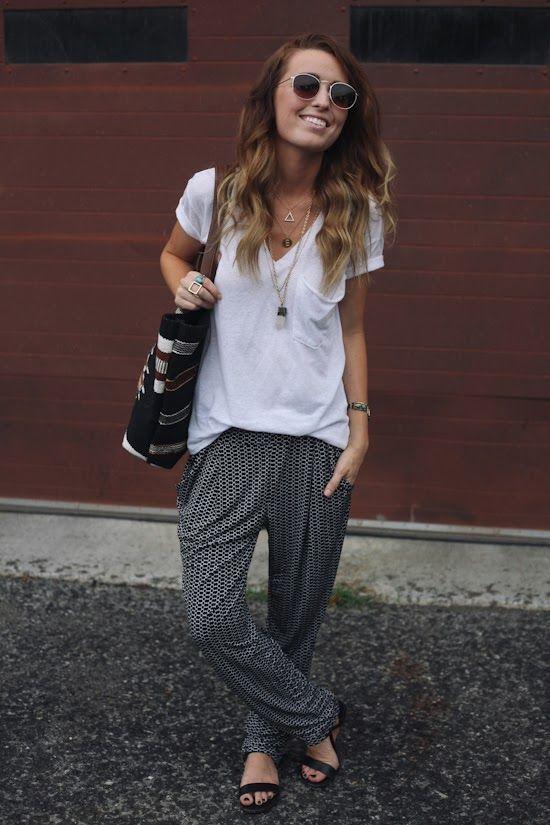 Shop the Pin: White V-neck T-Shirt, Printed Drawstring Pants, Flat Sandals, & a…