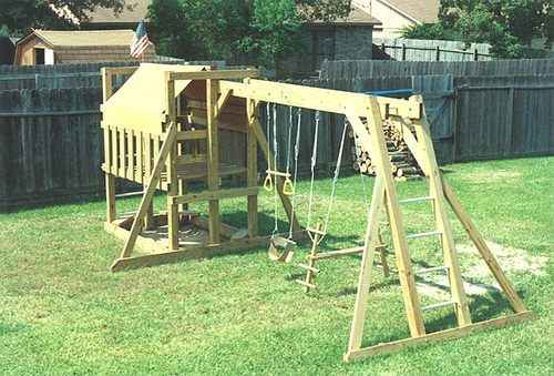 The wooden playground playfort swing set playset plans for Playground building plans