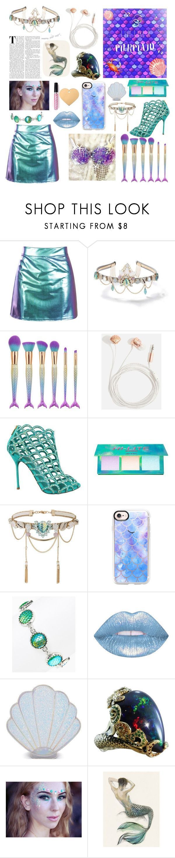 """Live like a Mermaid"" by queenietillaih ❤ liked on Polyvore featuring Miss Selfridge, Skinnydip, Sergio Rossi, Lime Crime, Casetify, Bubbly Bows, Sugar Thrillz and Mermaid Salon #sergiorossimermaid"