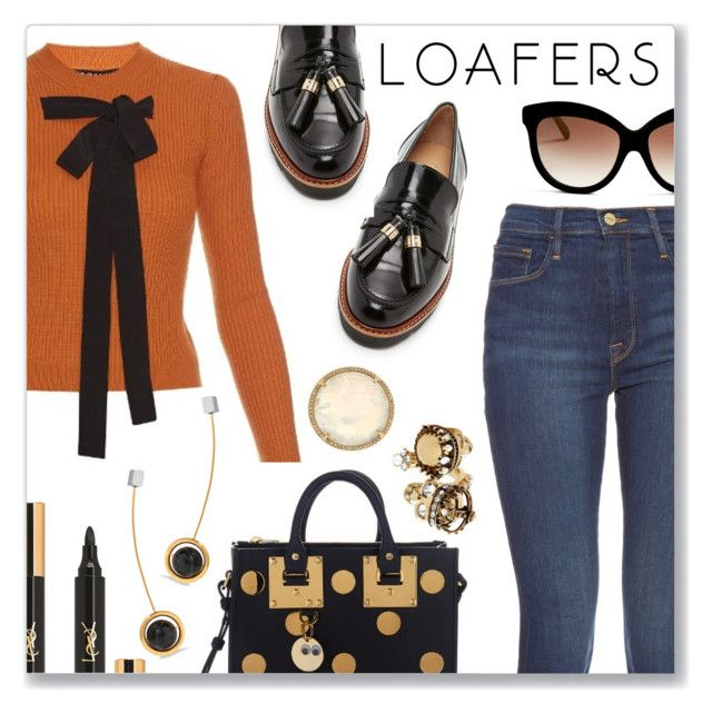 """""""Fall Footwear Trend: Loafers"""" by dressedbyrose ❤ liked on Polyvore featuring Rochas, Stuart Weitzman, Frame Denim, Sophie Hulme, Italia Independent, Irene Neuwirth, Yves Saint Laurent, Alexander McQueen, URiBE and Fall"""