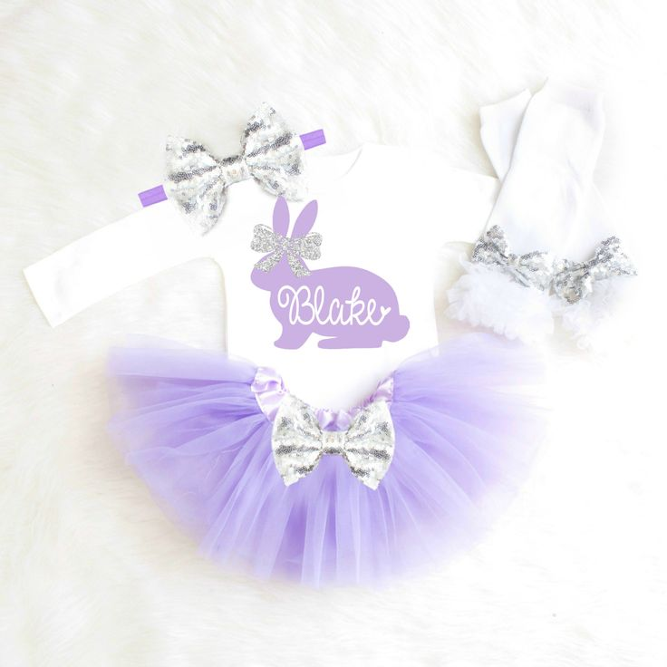 Baby Girl Easter Outfit Personalized Easter Outfit Girl 1st Easter First Easter Baby Girl Clothes Newborn Easter Dress Purple Silver Tutu E3 by KennedyClaireCouture on Etsy