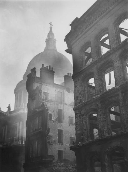 12th May 1941: Buildings devastated during air raids near the dome of St Paul's Cathedral in the City. (Photo by Topical Press Agency/Getty Images)