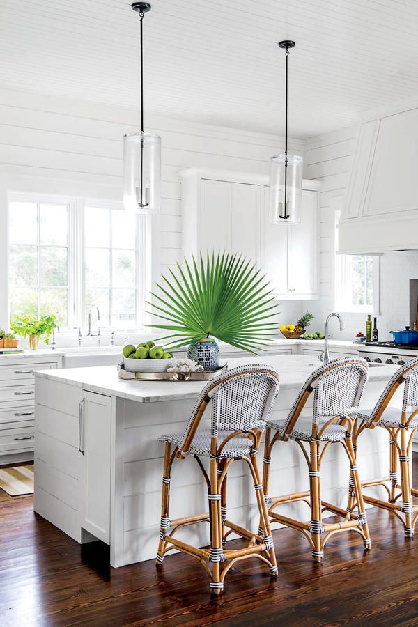 Welcoming Coastal Kitchen featuring Riviera Barstools | Image via Southern Living