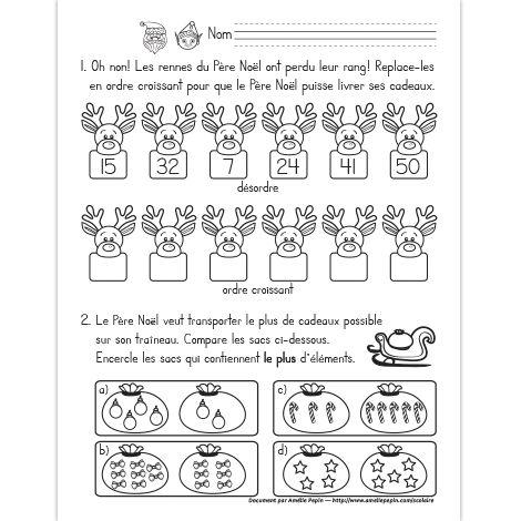 Mathématiques de Noël, 1re année | Exercices mathématiques ...