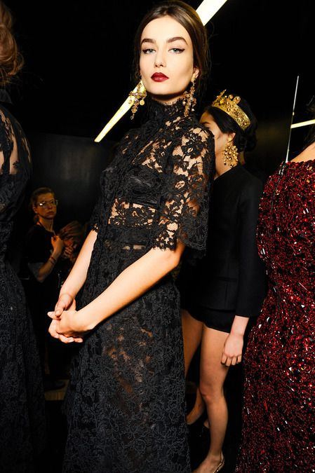 Obsessed with this entire look---ANDREEA DIACONU, DOLCE & GABBANA, BACKSTAGE