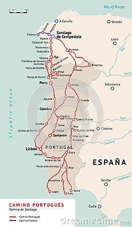 Χάρτης Portugués Camino Camino de Σαντιάγο Πορτογαλία
