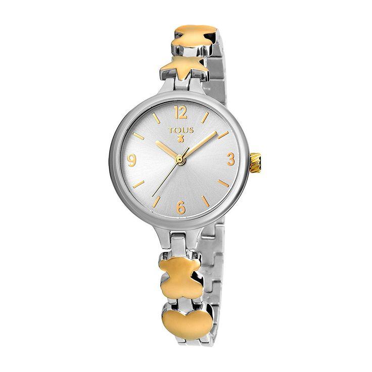 Reloj de niña/señora Tous, colección Dreamy, con la caja de acero brillo, armys de acero bicolor IPdorado brillo con motivos iconos de la marca, esfera plateada con índices dorados e impermeable a 5atm.