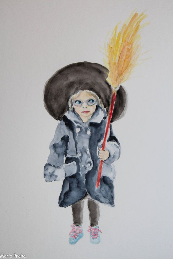 Original watercolour painting of a girl dreesed as a witch from an annual traditional Czech event of Witch Burning (Pálení čarodějnic, Walpurgis) in