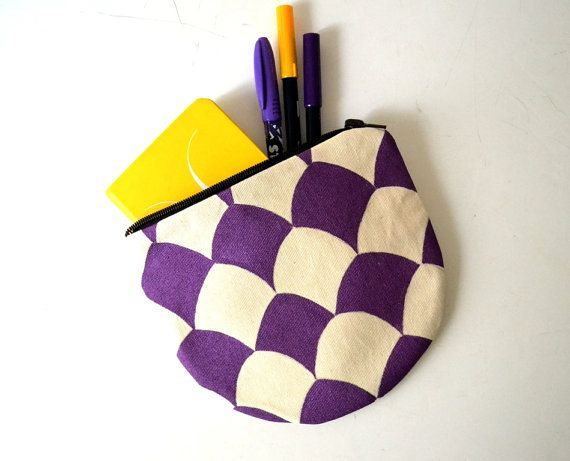 Hand Painted Pretty Canvas Pouch Coin Purse by BarbaLeatherStudio