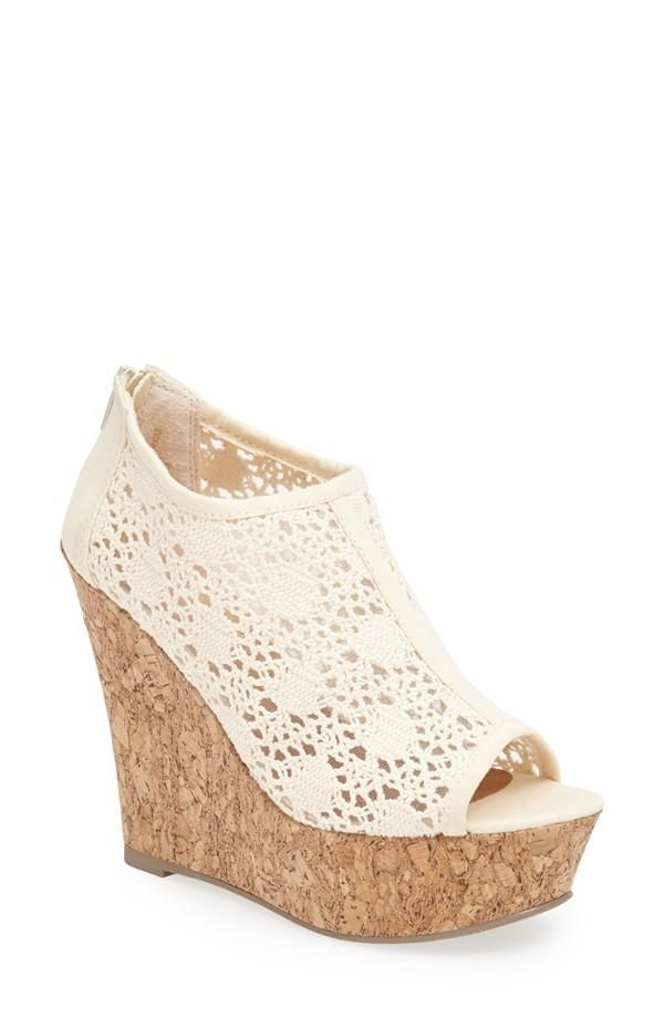 Love the cute crochet finish on this wedge sandal.