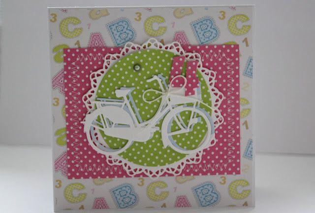 kartka z okazji urodzin dziewczynki, rower