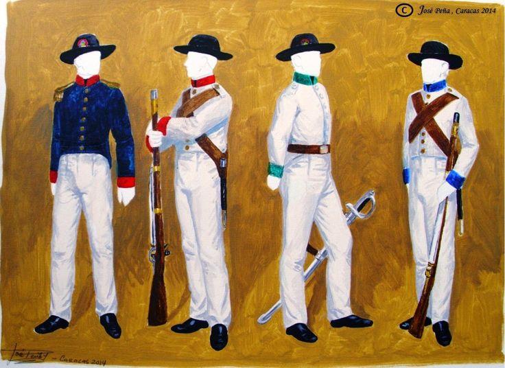 Milicias de la Gran Colombia, Departamento de Venezuela 1830 ( teniente, infantería, caballería y artillería)