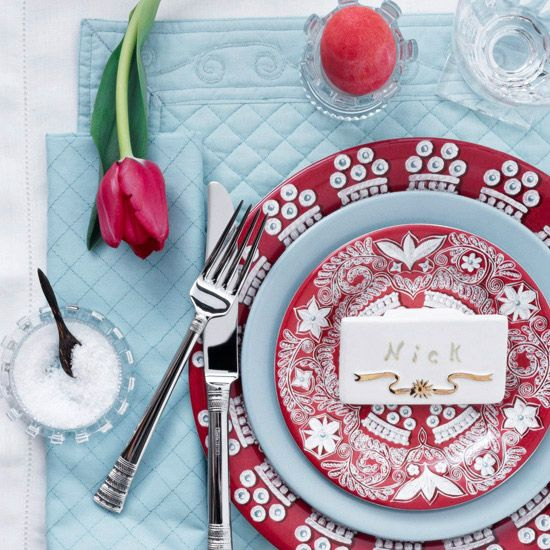 Red-and-Blue Easter Table Setting from @Better Homes and Gardens
