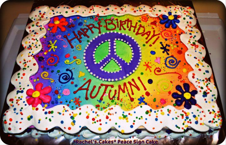 Cake Decorating Ideas Peace Sign : Peace Sign Hippie Chick Birthday Cake Cake Decorating ...