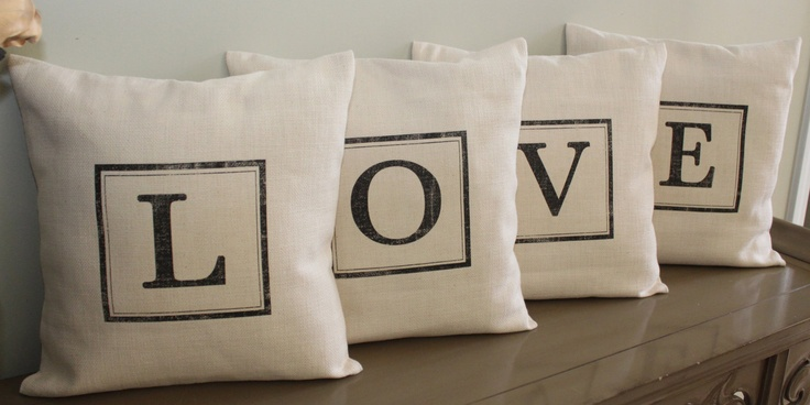 "FREE SHIPPING -  Set of four 18"" x 18"" print pillow covers, ""L O V E"". $68.00, via Etsy.  Going to make something similar to this.  A bit more shabby chic."