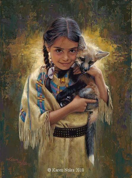 "karen noles paintings | ... Light Of Innocence"" 12"" x 9"" -Native American Paintings by Karen Noles"