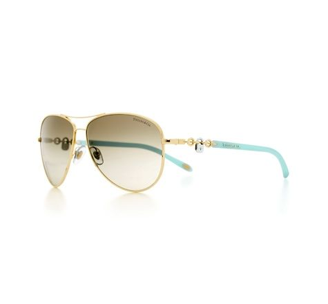 Tiffany & Co. | Item | Tiffany Locks aviator sunglasses in gold-colored metal with arc lock accents.