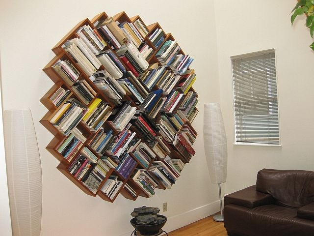 circular bookcase | books as art round bookcase