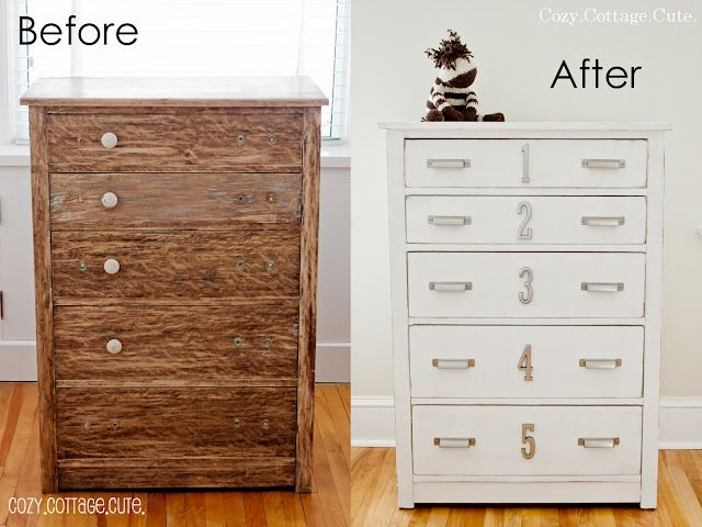 DIY Dresser Makeover Distressed White Gray Paint Brushed