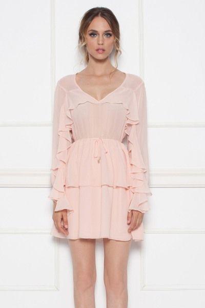Rochi roz mini cu volane - NISSA